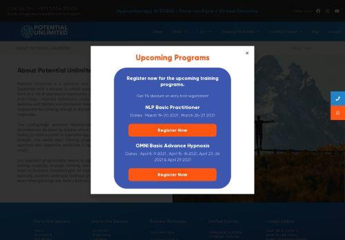 لقطة شاشة لموقع Potential Unlimited Training بتاريخ 08/05/2021 بواسطة دليل مواقع إنسااي