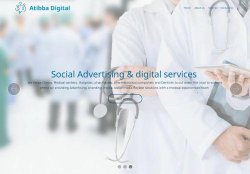لقطة شاشة لموقع شركة الاطباء ( أطبا ديجيتال) لحلول السوشيال ميديا و الاعلان بتاريخ 01/03/2021 بواسطة دليل مواقع إنسااي
